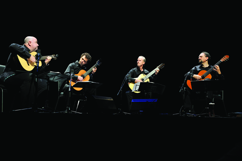 The Los Angeles Guitar Quartet will present a concert at 7:30 p.m., Thursday, Feb. 27, at Hesston Mennonite Church on the Hesston College campus. Pictured from left are Scott Tennant, Matthew Greif, John Dearman and William Kanengiser.