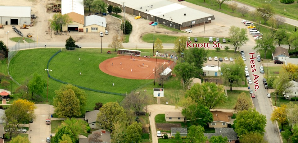 aerial view of softball field with streets identified