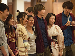 Hesston College students Sho Ishihara, Ayaka Senoo, Narumi Hayano, Danika Saucedo Salas, Shikou Morishita, Misaki Hirayama and Kento Ueda merge their cultures during the college's annual Cultures Fair Feb. 20. International students shared their customs, culture, music and food with the campus community during the celebration.