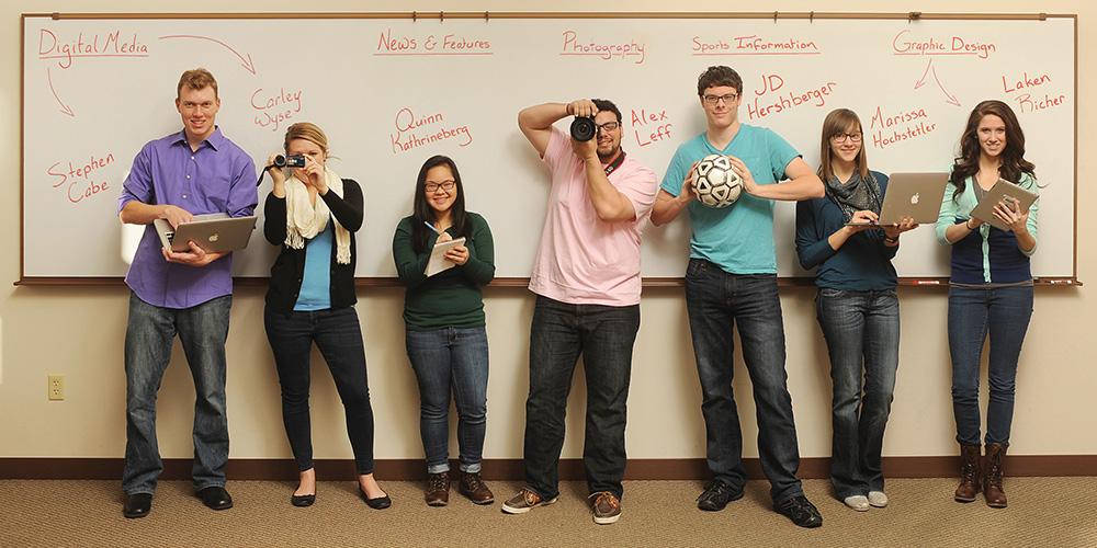Hesston College communications interns include Stephen Cabe (sophomore, Niles, Mich.), Carley Wyse (sophomore, Archbold, Ohio), Quinn Katherineberg (freshman, Salina, Kan.), Alex Leff (freshman, Andover, Kan.), JD Hershberger (sophomore, Hesston, Kan.), Marissa Hochstetler (sophomore, Strang, Neb.) and Laken Richer (freshman, Goshen, Ind.).