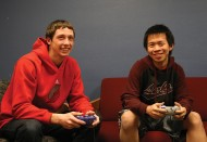 Jason (in red) and Kelvin take a study break for video games in the mod. Photo by Alex Leff '15.
