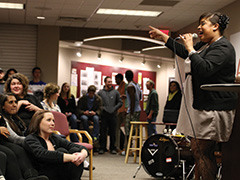 A member of the Terrel Verner Trio performs at a Hesston College coffee house Jan. 24 in honor of Martin Luther King, Jr., Day. Photo by Alex Leff, Hesston College.