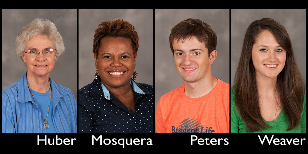 Hesston College 2014 commencement speakers: Joyce Huber, Marelby Mosquera, Nathan Peters, Hannah Weaver