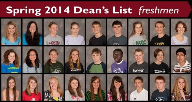 Spring 2014 Hesston College Dean's List - freshmen