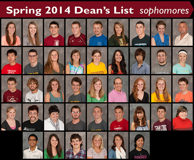 Spring 2014 Hesston College Honor Roll - sophomores