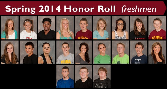 Spring 2014 Hesston College Honor Roll - freshmen