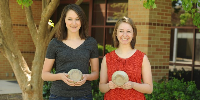 Hesston College sophomores Hannah Weaver (left) and Rebecca Eichelberger (right) were named Larks of the Year during the annual LarkFest Awards ceremony May 2.