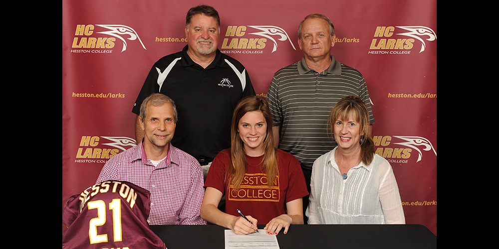 Mandy Cockrell signs to play basketball for Hesston College.