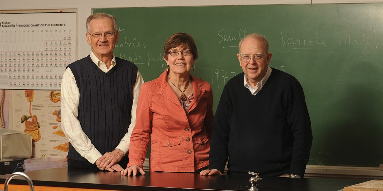 Hesston College retirees Hugo Boschmann, Lorna Harder and Nelson Kilmer