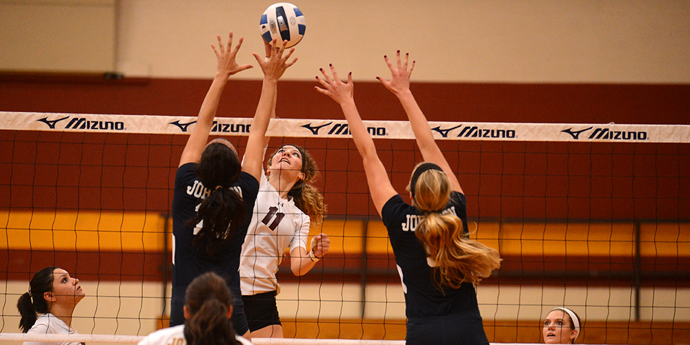 Hesston College volleyball action photo