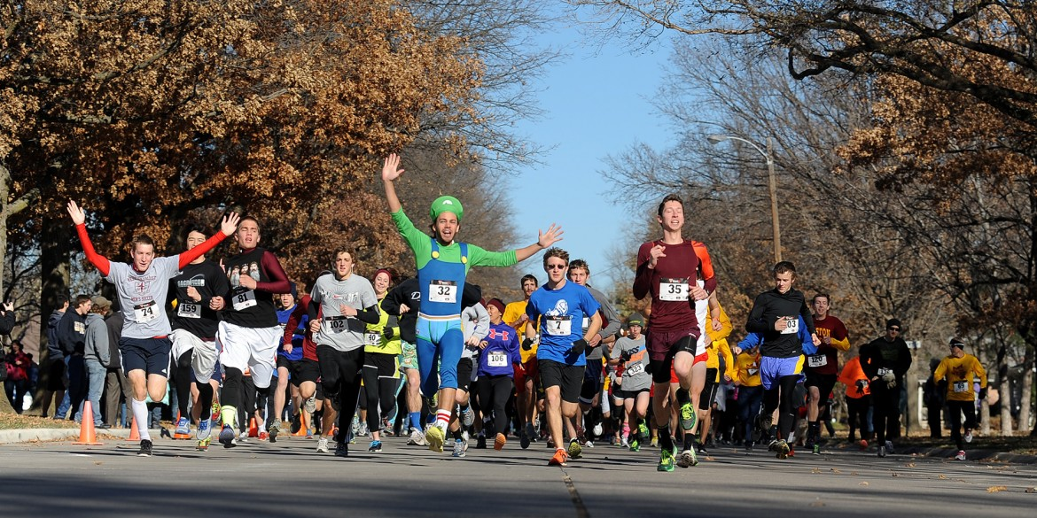 Runners start the Hesston College Howard Hustle Two-Mile Run/Walk during the college's 2013 Thanksgiving Weekend celebration