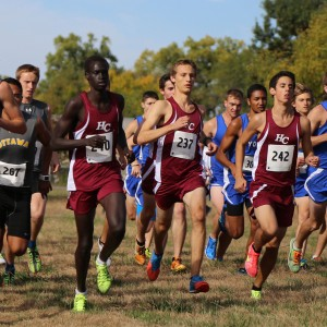 Hesston College men's cross country team at the 2014 Bethel Invitational