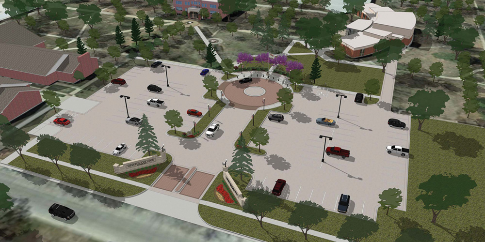 Architect's rendering of new campus entry