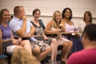 Members of the class of 1994 share stories and memories during their class reunion.
