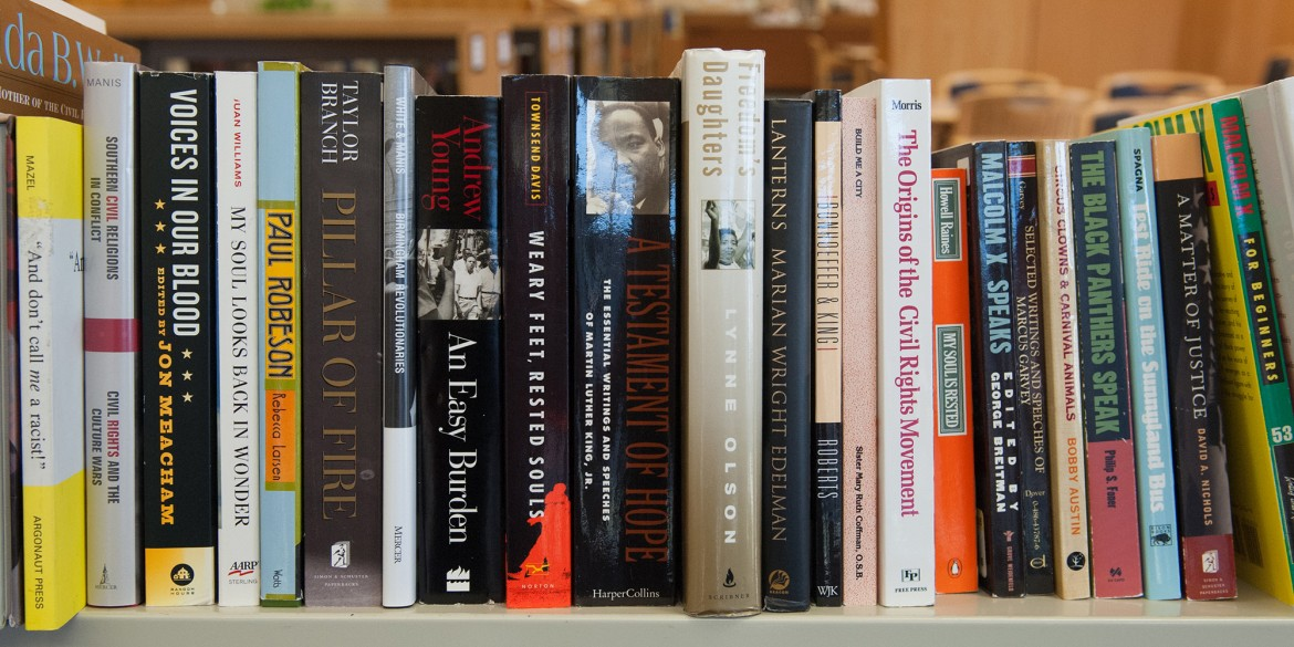 Some of the books Bruce and Joy Rogers donated to Mary Miller Library.