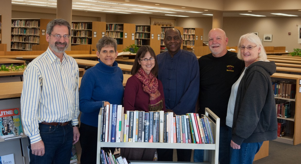 Hesston College alumni Bruce and Joy Rogers, right, donated 65 books on civil rights and African-American history to the college's library.