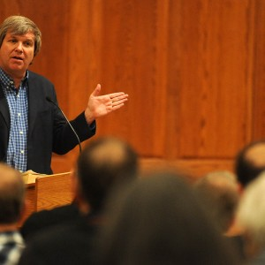 "Father John Dear speaks on nonviolence during Hesston College's AVDS conference ""Overcoming Evil: Ordinary People Making a Difference"" Feb. 13 to 15."
