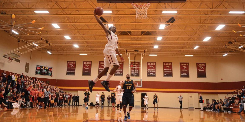 Men's basketball action photo