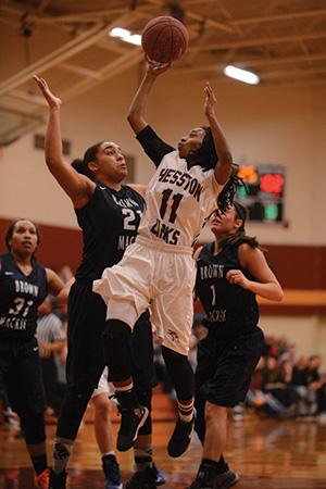 Jermani Thompson shoots for the Larks women's basketball team