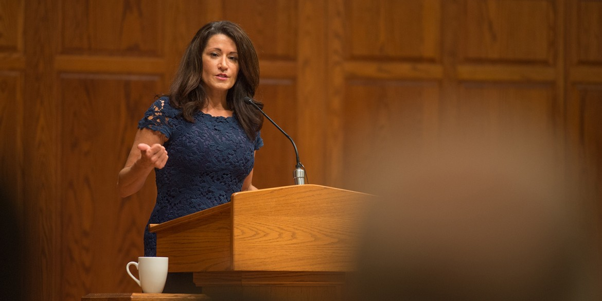 Through her personal story, Regina Calcaterra, a successful lawyer, New York State official and advocate for children in foster care, reminded audience members of the power of their words and actions in regards to vulnerable children.