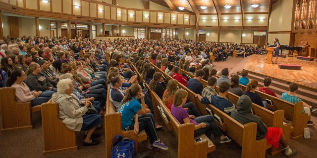 Hesston Mennonite Church was filled to capacity for Calcaterra's presentation on her book and her work.