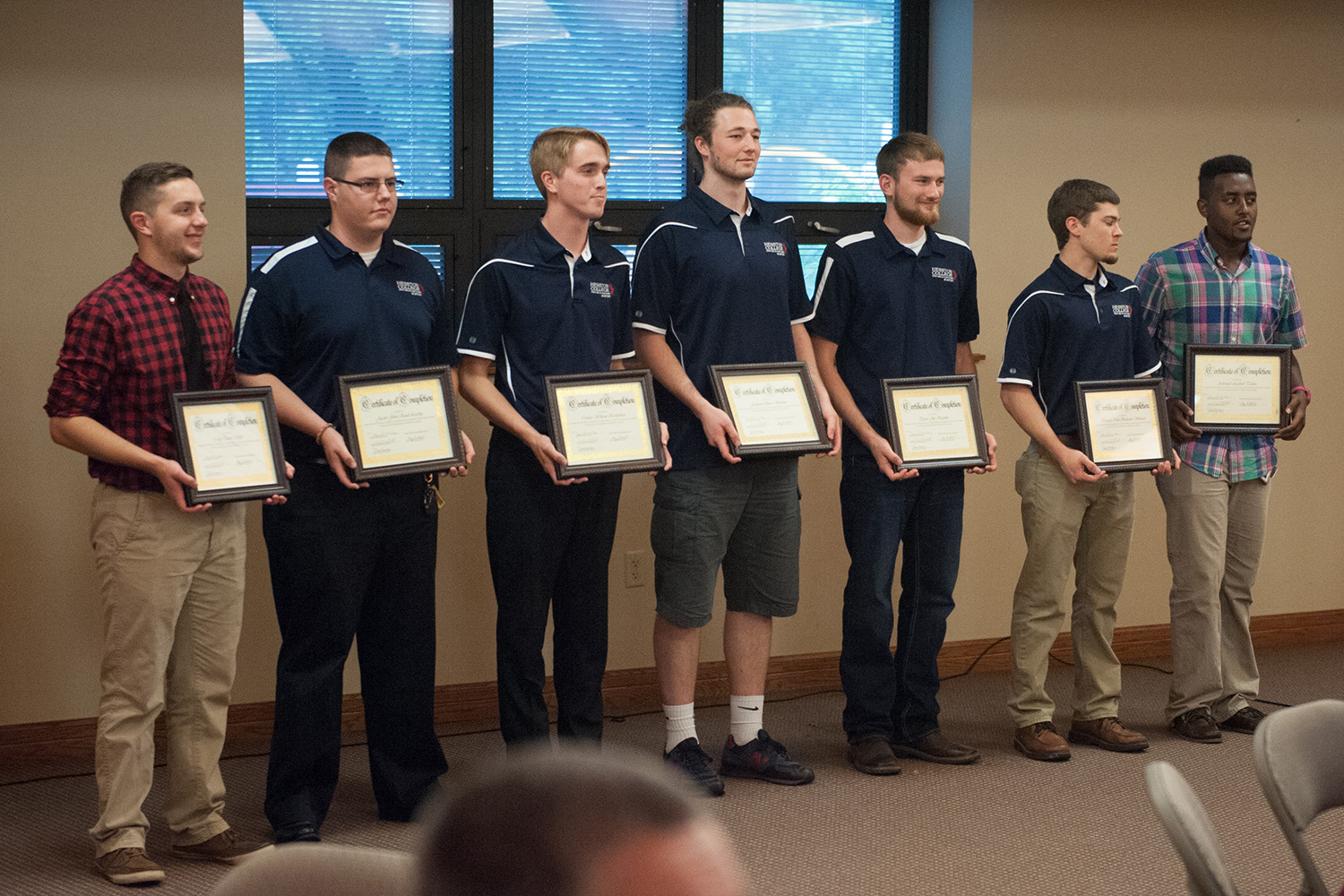 Aviation and Air Traffic Control students are recognized during a May 9 celebration for eight professional pilot graduates and one air traffic control graduate. Pictured are Cody Miller '15 (Wellman, Iowa), Jacob Leichty '15 (Auburn, Ind.), Connor Rockelman '15 (York, Pa.), Jeshurun Shuman '15 (Middletown, Pa.), Trevor Natalini '15 (Oronogo, Mo.) and Kendal Slabach Brubaker '15 (Harrisonburg, Va.).