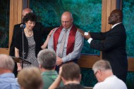 Pastoral Ministries graduate Tom Wedel '15 (Hesston, Kan.) is commissioned for service to the church.