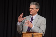"""Kevin King (Lititz, Pa.), executive director of Mennonite Disaster Service, delivers the Commencement address """"Abide In Me,"""" based on the 2014-15 theme verse from John 15:4-5."""