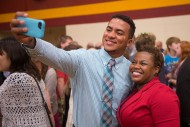 Lucas Garces Soliman takes a post-Commencement selfie with biology instructor Marelby Mosquera.