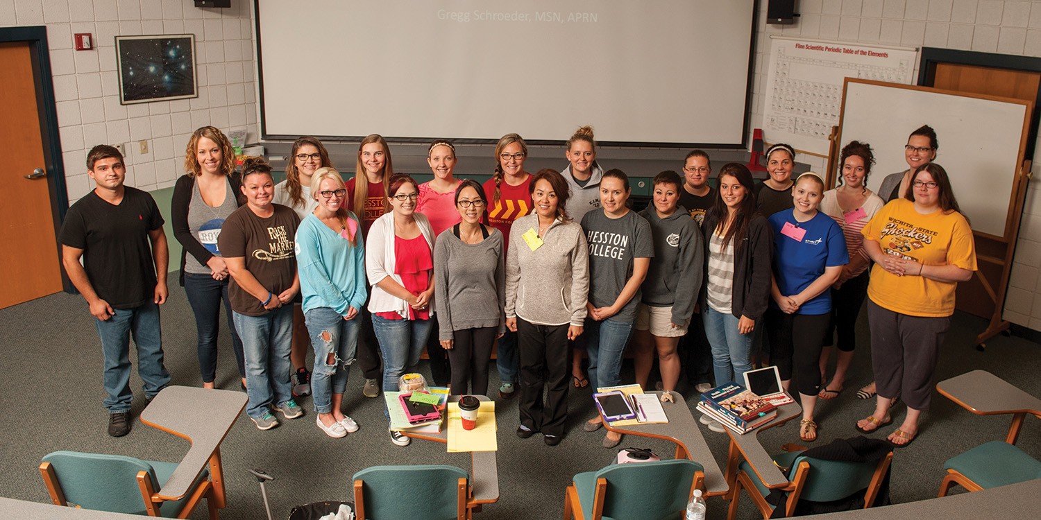 The first day of class for Hesston College's bachelor of science in nursing program