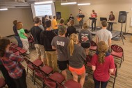 Students lead and participate in weekly Campus Worship in the Campus Worship Center in honor of Marion Bontrager.