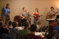 The Straight A's, a folk/pop band from Goshen, Ind., perform at a coffeehouse in the Campus Worship Center.