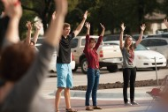 Students, faculty and staff ended the Northlawn and Campus Entry Dedication Ceremony with a flash mob.