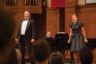 """Matt Schloneger '92, music faculty member and Fjaere Harder '05 Nussbaum perform """"Anything You Can Do"""" from Annie Get Your Gun."""