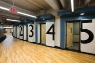 Practice rooms in the lower level contain sound and are individually temperature controlled.