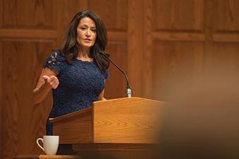 Regina Calcaterra speaks at Hesston College