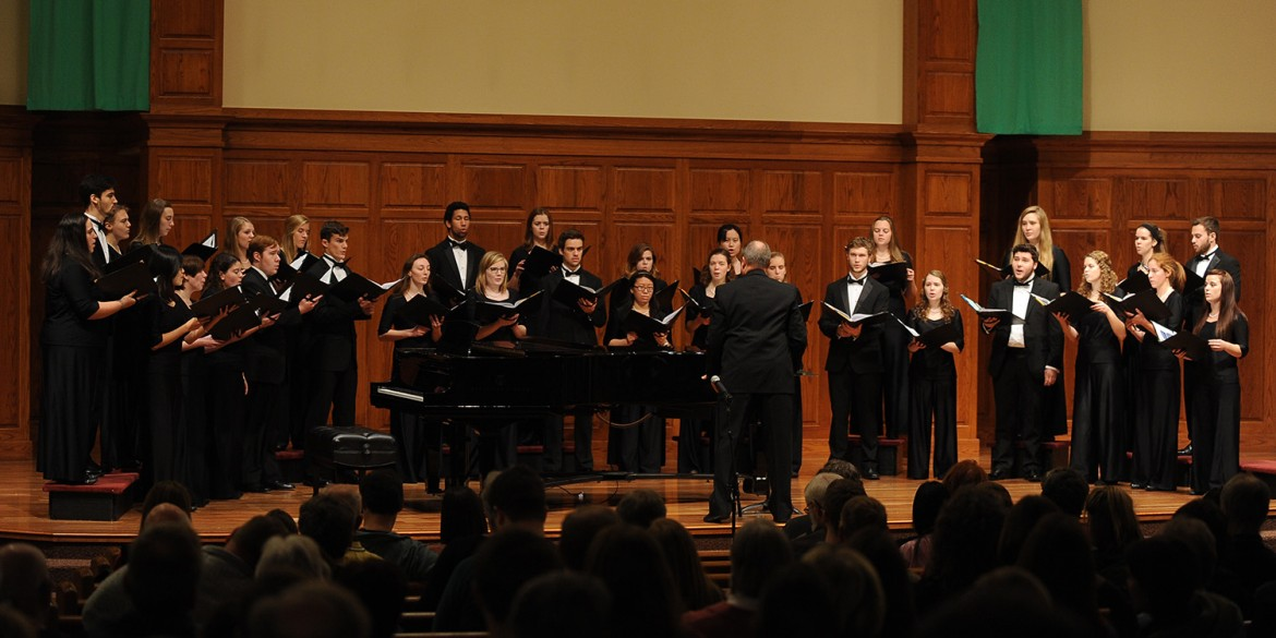 The Hesston College Chorale performs at a Thanksigiving weekend concert.