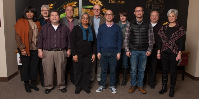 The Hesston College Presidential Search Committee: Addie Banks (Bronx, N.Y.), Marie Morris (Anderson, Ind.), Ramiro Hernandez (Washington, Iowa), Carlos Romero (Goshen, Ind.), Carlota Ponds (Hesston), Barth Hague (Newton, Kan.), Ken G. Kabira (Naperville, Ill.), Kendra Burkey (North Newton, Kan.), Luke Roth-Mullet (Hesston), Tim Burkholder and Lynette Bontrager (Archbold, Ohio). Not pictured: Tony Brown (Pittsburgh, Pa.) and Chuck Neufeld (North Newton, Kan.).