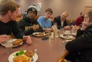 President Keim eating lunch with students