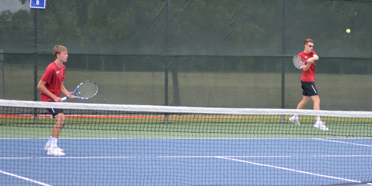 Riley Kingsley and Keegan LeFevre compete in a national tournament doubles match. Photo courtesy Jen LeFevre.