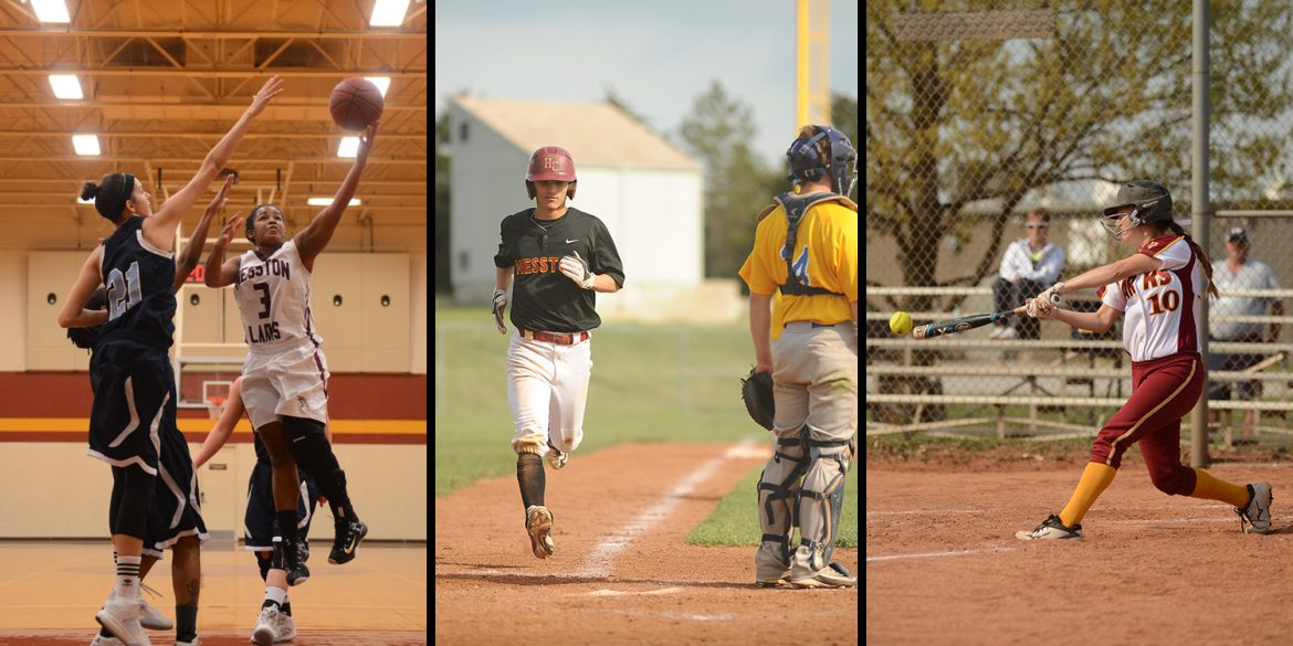 action photos of women's basketball, baseball and softball