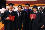 President Howard Keim with graduates at commencement 2016