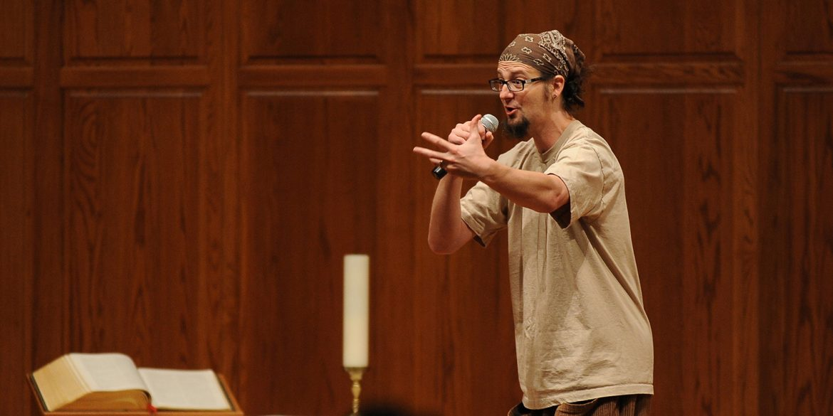 Shane Claiborne speaks during February's Anabaptist Vision and Discipleship Series