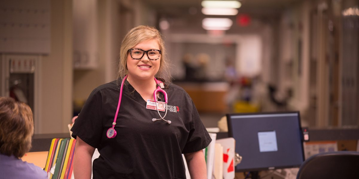 Hesston College nursing student at Newton Medical Center