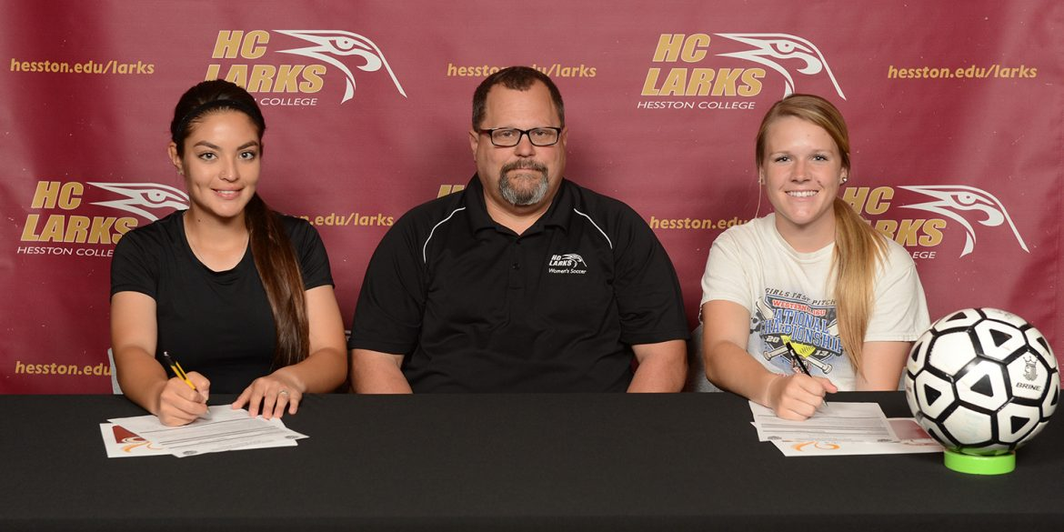Alicia Ramirez and Dakoda Lee sign letters of intent to play soccer at Hesston College.
