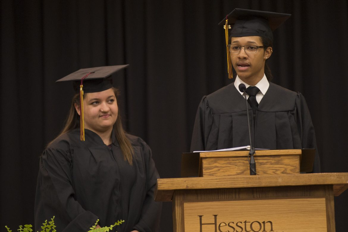 Student speakers Isaiah Crosby '16 (Ponca City, Okla.) and Emily Kauffman '16 (Pettisville, Ohio)