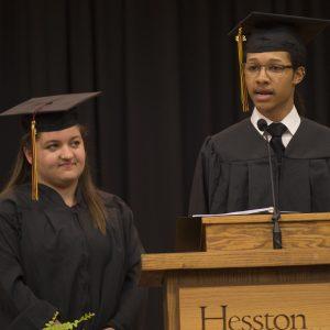 Student speakers Isaiah Crosby '16 (Ponca City, Okla.) and Emily Kauffman '16 (Pettisville, Ohio)