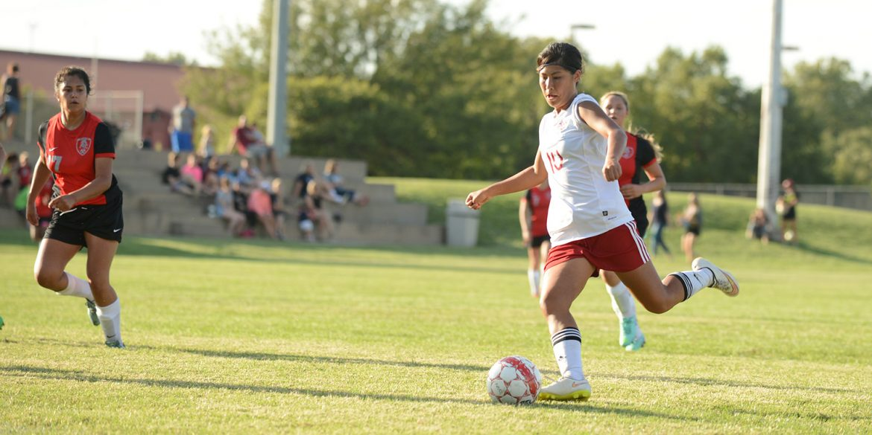 Hesston College women's soccer action photo - Mika Matsuda