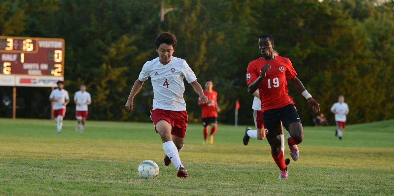 Hesston College men's soccer action photo - Ryuta Hayakawa