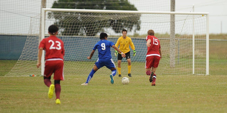 Larks men's soccer goalie Luke Hertzler
